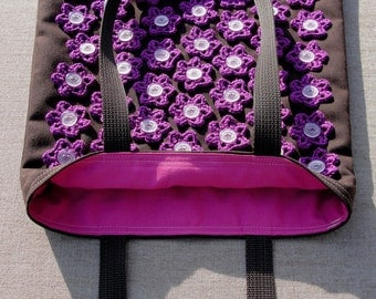 Tote Bag (W-BAG-037), brown and purple bag, women accessory, flower bag, handbag, shoulder bag