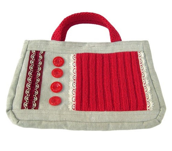 Handbag 'Red Stitches' (W-BAG-022), women accessory, unique purse, ooak bag, red purse, red handbag, recycled purse, recycled canvas bag