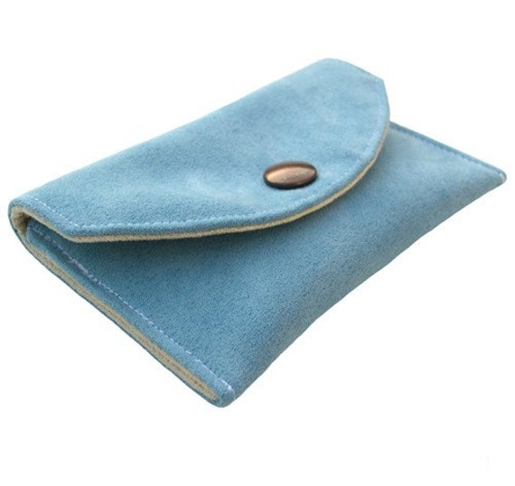 Card Wallet (W-TP-051), women accessory, credit card wallet, business card wallet, ID card wallet, blue wallet, faux suede wallet