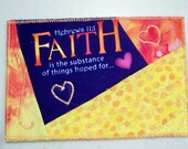 "Fabric Postcard - ""FAITH"""