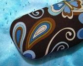 Hardshell Eyeglass Case - Retro Blue and Brown Flowers