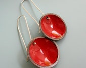 Bright Red Enameled Disc Earrings