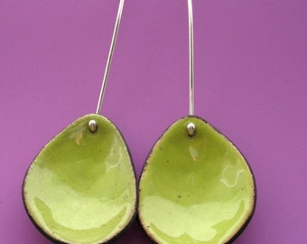 Lime Green Enameled Pebble Earrings