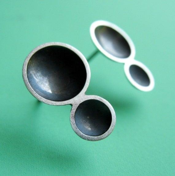 Sterling Silver Double Bubble Post Earrings