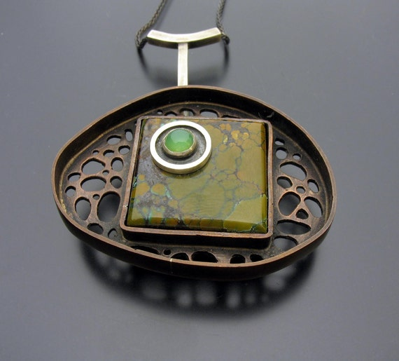 SALE Copper and Sterling Pendant with Turquoise and Chrysoprase