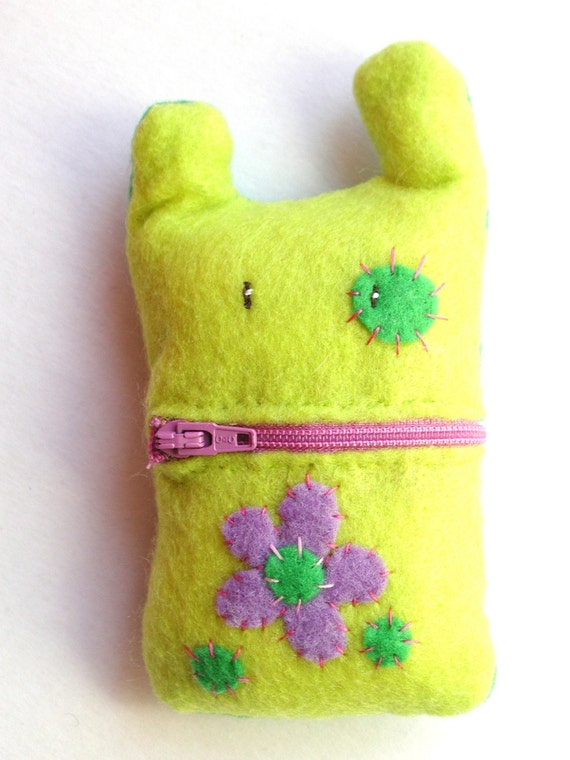 Purple and Green Flower Monster Cell Phone Cozy Case