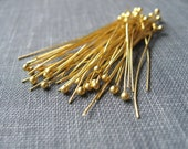 Vermeil Ball Headpins 50 pcs 24 ga DESTASH -- BEST PRICE