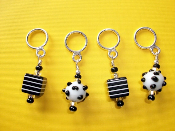 Black and White funky Knitting Stitch Markers - set of 4 - snag free