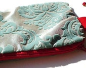 oOoCLEARANCEoOo LE BIJOU CHIC- 3-in-1 Glamourous wristlet in aquamarine and red