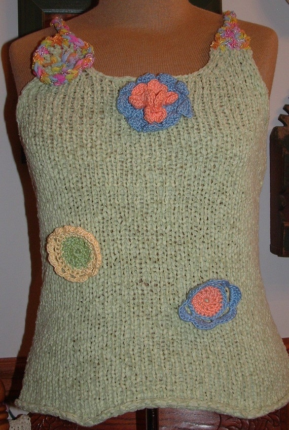 SALE  Knit tank with crochet flowers and straps
