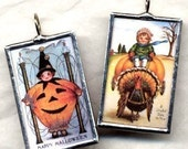 Vintage DOUBLE HOLIDAY Halloween and Thanksgiving Art Glass Pendant