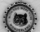 WONDERLAND Cheshire Cat Wish You Were Here Bottle Cap-Style Necklace