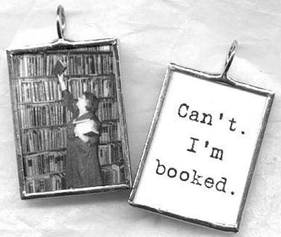 READ - A BOOK LOVERs Beg Off Art Glass Pendant