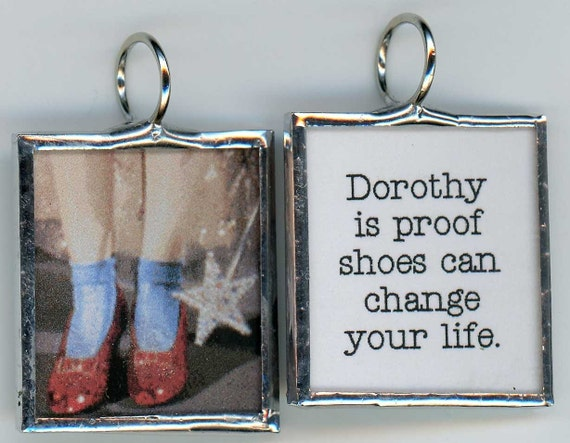 Ruby Slippers of Dorothy of Oz is Proof SHOES Can Change Your LIfe Art Glass Pendant