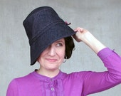 Womens Cloche Hat Ladies Navy Blue Denim Cotton Bucket Hat Designer Sun Hat Casual Fashion Travel Hat Sun Protection: Harbinger