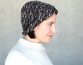 Warm winter hat brown tweed cloche soft fabric hat lined fall skullcap adjustable size hat modern millinery womens hats trendy : Incognito
