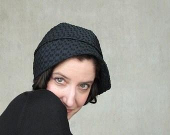 Womens black cloche travel hat modern turban navy blue ladies millinery womens hats trendy modern design everyday hat : Heady Concoction