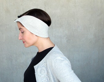 Reversible headpiece headband visor fascinator in elegant black and grey : Scintilla
