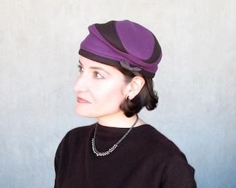 Womens wool beret, warm cloche hat, modern turban, sewn fabric hat, purple brown colorblock, handmade millinery, cashmere cloche : Getaway