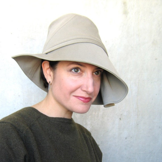 Womens sun hat, wide brimmed hat, khaki cotton topper, modern millinery, vacation hat, ladies beach hat, lined travel hat : Moving Image