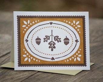 single Acorns and Oak Leaves letterpress greeting card, blank inside
