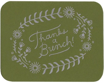 "set of five ""Thanks A Bunch"" letterpress cards"