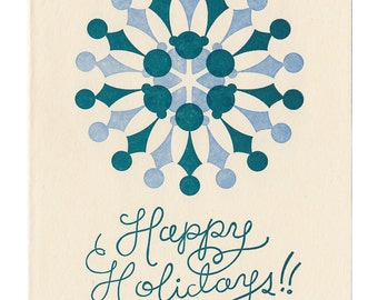 Happy Holidays letterpress greeting card - blank inside, single card