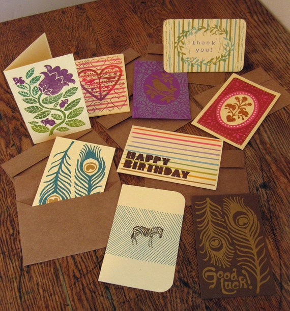 set of nine hand-printed cards, Emily assortment