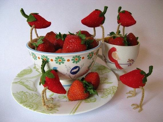 Strawberry Bird - Little Felt Creature by Melissa Sue