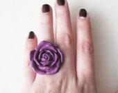 Big Rose Ring - Purple Plum Adjustable  FREE US SHIPPING