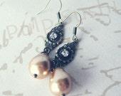 Pearl Drop Dangle Earrings - Vanilla Latte - Wedding Bridesmaid Gift - Swarovski Crystal