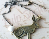 Bunny Rabbit Necklace Antique Brass Necklace - Some Bunny Loves You - Vintage Inspired