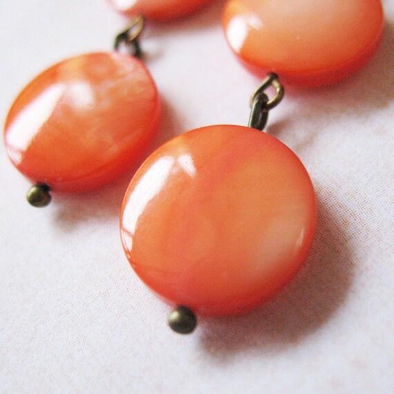 Orange Beaded Earrings Flat Stone Dangle Earrings - Tangerine Dream - Gifts Under 15.00