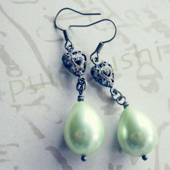 Tea Green Pearl Coat Dangle Earrings - Fanciful Deluxe