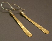 Thora - Long Hammered Brass Earrings with 14k Goldfill - Messy Wirewrapping Fun Long Earrings
