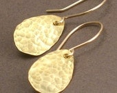 Mari -  Hammered Brass Raindrop Earrings on 14k Goldfill Earwires