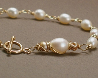 Godiva Bracelet - Ivory Pearls and Champagne Pearls Wirewrapped on 14k Goldfill - Wedding Jewelry - Pearl Bracelet