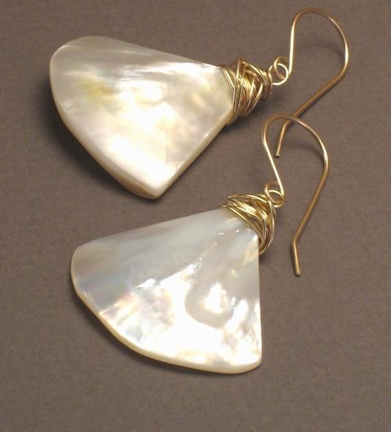 Oceana Gold -- Modern Mother of Pearl Shell Fan Earrings Wirewrapped on 14k Goldfill