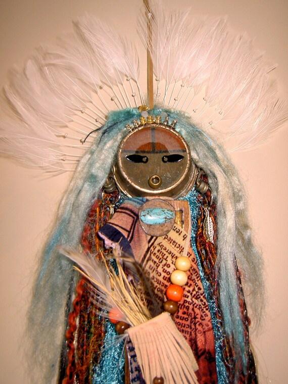 Kachina Art Doll, Spirit Doll, Mixed Media Assemblage, Found Objects, Katsina, Mother and Child
