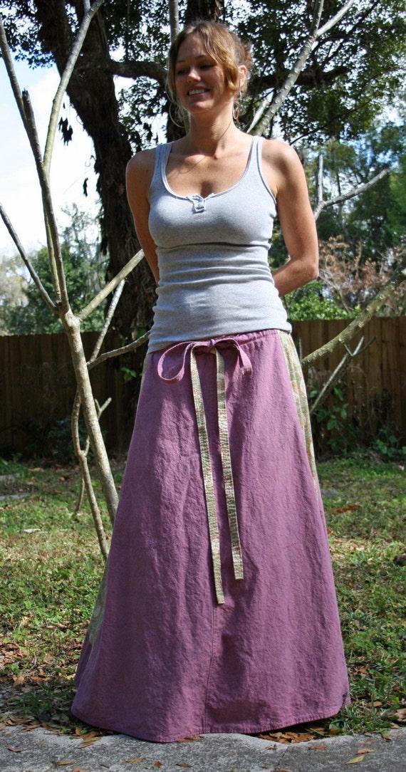 Hemp art nouveau long goddess skirt