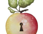 apple with keyhole greeting card
