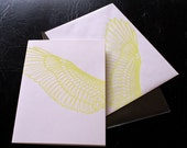 Wing card - neon green on ivory