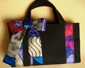AandV Clutch Handbag- Black Canvas- Recycled Scarf- Colorful Stained-glass Pattern
