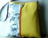 Handmade fabric purse, linen and cotton, A-Line Shoulder Bag, Mustard