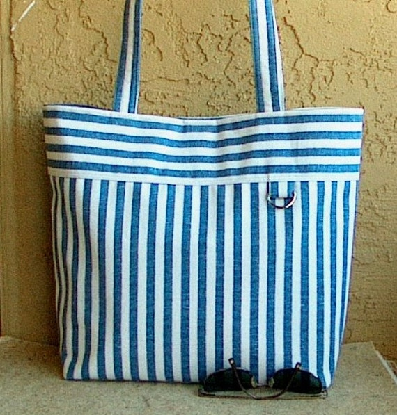 Classic cotton canvas tote bag- Wedgewood Blue Stripes