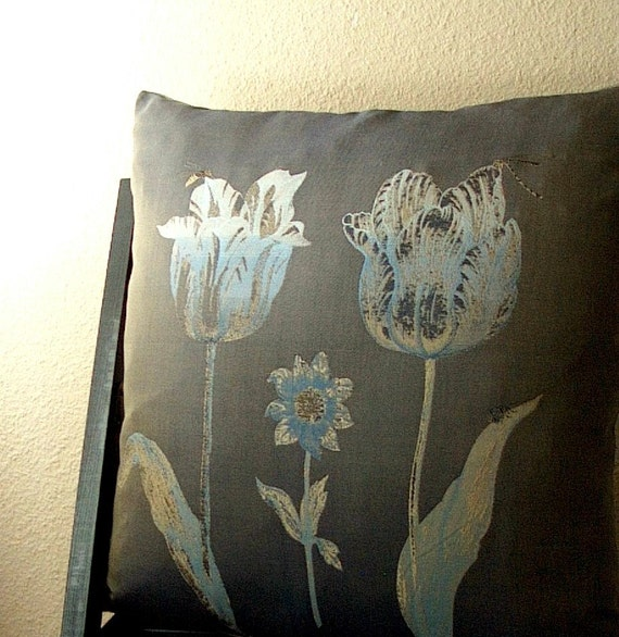 Light Blue Silk Throw Pillow : Decorative Pillow Cover in Recycled Silk and by aandvdesigns