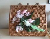 vintage floral bird purse