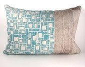 Block Printed Linen Pillow Cover - Blocks Woodgrain