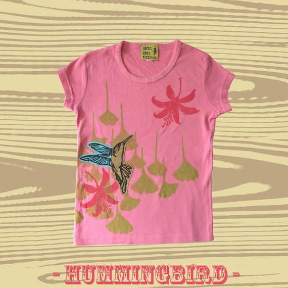 Youth Hand Dyed Block Printed Hummingbird S\/S T-Shirt