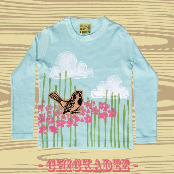 Youth Hand Dyed Block Printed Chickadee L\/S T-Shirt